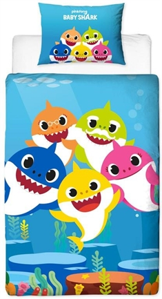 Baby Shark junior sengetøj - 2 i 1 design - 100x140 cm